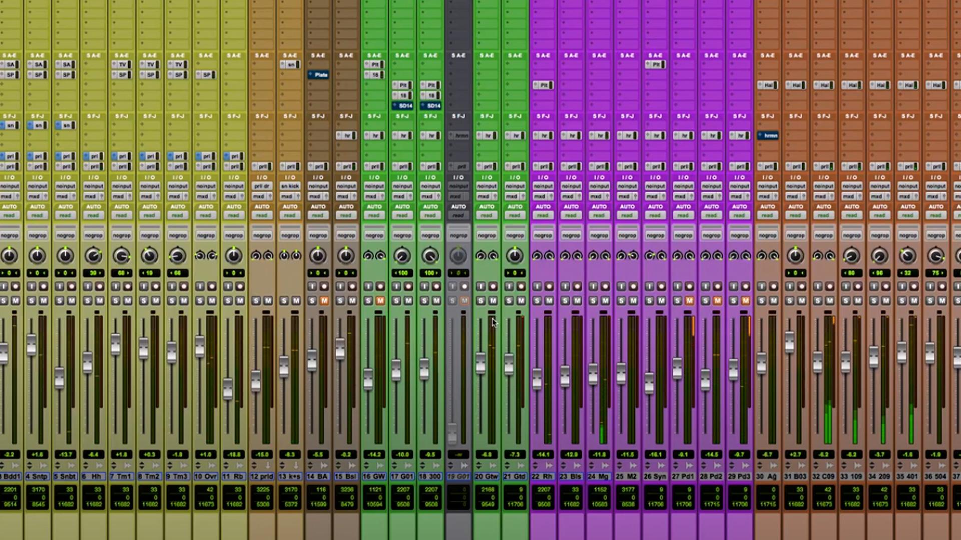 Canais de áudio na mix